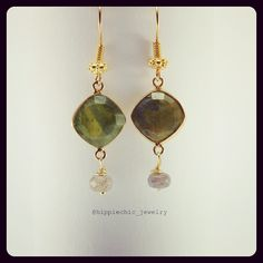 with drop and details Labradorite, Jade, Fashion Accessories, Drop Earrings, Detail, Womens Fashion, Gold, Handmade, Jewelry