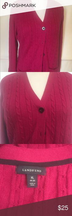 Lands End Cardigan Sweater New condition long Cardigan. Fuchsia pink Lands' End Sweaters Cardigans