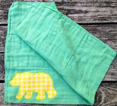 Cute for a future #Baylor Bear! // Green and Gold Bear Burp Cloth on Etsy