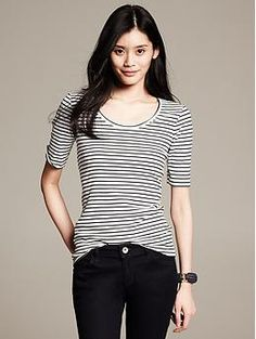 Striped Timeless Tee | Banana Republic