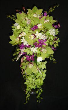 Green Cymbidium Orchid cascade Bouquet | CASCADE: 4-DOZEN WHITE ROSES FROM $275