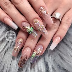 Head over Heels - Untitled Cute Nails, Pretty Nails, My Nails, Pretty Nail Designs, Nail Art Designs, Coffin Nails, Acrylic Nails, Rose Gold Nails, Glitter Nails