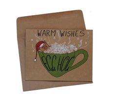 Warm wishes holiday card - Christmas card puns - funny egg nog Christmas card - Pig Christmas card - Holidays card funny pig - pun card by MashUpArt on Etsy https://www.etsy.com/listing/480208572/warm-wishes-holiday-card-christmas-card