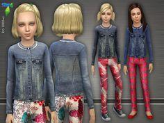 Short Denim Jacket & Pants by Lillka at TSR via Sims 4 Updates