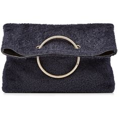 Victoria Beckham Spiral Clutch ($1,180) ❤ liked on Polyvore featuring bags, handbags, clutches, borse, purses, blue, navy blue purse, navy leather purse, blue clutches and navy handbag