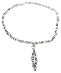 Sterling Silver Anklet with Feather