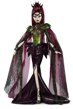The Empress reigns in a floor-length gown of iridescent netting and dark purple reptilian textures. Draped chiffon sleeves are accented with metallic two-tone shoulder armor that match her sculpted co...