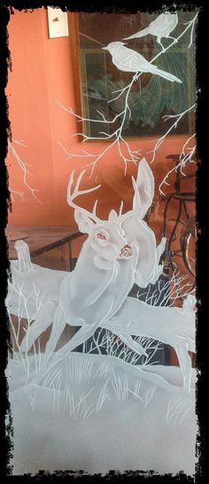 Deer jumping glass carving by Fernando Reyes   Inspired by nature artist Robert Bateman 2014