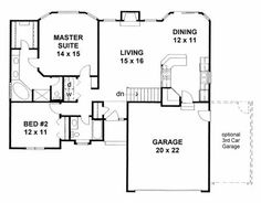 House Plan 62610 Traditional Plan with 1273 Sq., 2 Bedrooms, 2 Bathrooms, 2 Car Garage at family home plans 2 Bedroom House Plans, Garage House Plans, Family House Plans, Dream House Plans, Small House Plans, House Floor Plans, Car Garage, Dream Houses, Family Houses