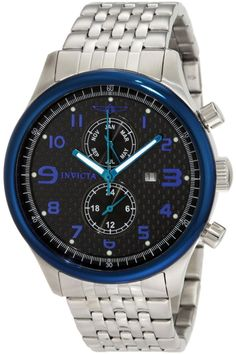 INVICTA STAINLESS STEEL SPECIALTY CARBON FIBER DIAL BLUE BEZEL DATE AND MONTH DISPLAY WATCH