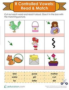 Use this read-and-match activity to practice reading r-controlled combinations. Worksheets like this help to work skills necessary for gaining fluency. Vowel Worksheets, 1st Grade Worksheets, Reading Worksheets, Preschool Worksheets, Teaching Child To Read, Learning To Write, Learning Resources, Writing Lesson Plans, Writing Lessons