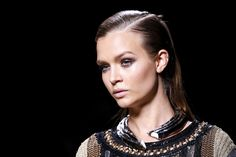 Not one for small statements, Oliver Rousteing had his models in these enormous collarbone chokers