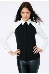 Gabina Collared Contrast Shirt In Black