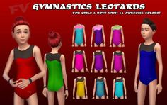 My Sims 4 Blog: FV Gymnastics Tank Leotards For Girls & Boys - Rhi...
