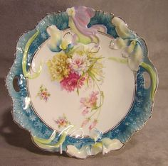 """R S Prussia 9 1/2"""" Hidden Image Handled Plate / Bowl ~ Mold 4 #RSPrussia"""