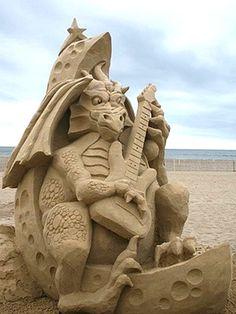Dragon Playing Guitar Sandcastles