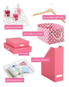 I want all of this Container Store organization! Dorm Organization, Home Organisation, Cocina Office, Pretty In Pink, Feng Shui Design, Pink Office, Dorm Life, My Room, Dorm Room