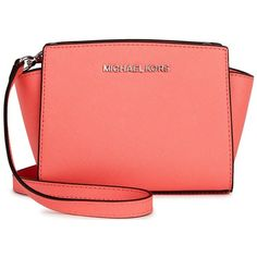 Womens Cross-body Bags Michael Kors Selma Mini Coral Leather... ($220) ❤ liked on Polyvore featuring bags, handbags, shoulder bags, michael kors shoulder bag, leather crossbody, leather purse, red shoulder bag and red leather purse