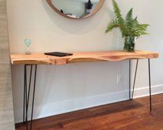 """Table console bois bureau - Plant Stand - canapé Table-porte d'entrée Table-Mid Century-épingle à cheveux, jambes-16"""" W x L 62"""" x 30"""" H x 2,5"""" T-Vancouver, BC vendu"""