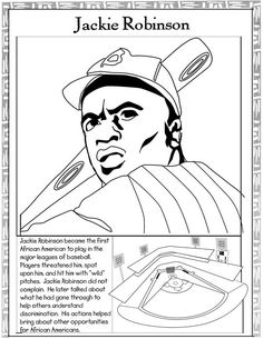 Color Jackie Robinson | Jackie Robinson, Worksheets and Black ...