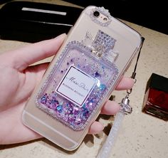 Miss Dior Perfume Glitter Bling iPhone Case Girl Phone Cases, Iphone Cases Cute, Miss Dior Blooming Bouquet, Dior Perfume, Miu Miu, Perfume Bottles, Bling, Iphone6, Fluffy Sandals