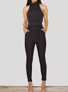 It's easy to achieve instant elegant sexy look when you slip into this overall piece. Features halter neckline, strappy open back, sleeveless, twin side slant pocket and over all cut design. Crafted f