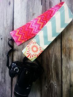 Raspberry Sorbet and Chevron Padded Camera Strap Cover