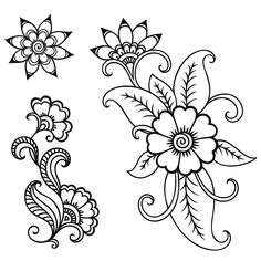 Set of Mehndi flower pattern for Henna drawing and tattoo. Decoration in ethnic oriental, Indian style. Henna Mandala, Henna Art, Mandala Tattoo, Henna Patterns, Embroidery Patterns, Paisley Drawing, Mehndi Flower, Girl Neck Tattoos, Flower Drawing Tutorials