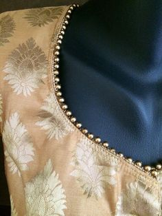 Gold jacquard saree blouse with beaded tassels