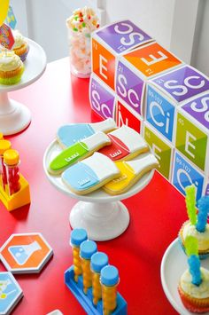 Love the science beaker cookies! Science themed birthday party by kara's party ideas for oriental trading