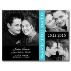 Engagement Collage Save The Date Announcement Post Card