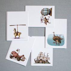 Hand-Illustrated Migration Mini Art Notes (set of by SeriousCreatures on Etsy