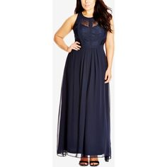 City Chic Plus Size Sleeveless Maxi Dress ($119) ❤ liked on Polyvore featuring plus size women's fashion, plus size clothing, plus size dresses, french navy, plus size navy blue dress, plus size maxi dresses, formal dresses, navy dresses and blue dress