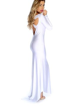 85afa6210d Sexy White Prom Dress Long Sleeve Criss Cross Back High Low Maxi
