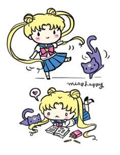 Usagi and Luna <---wait, is Usagi actually studying?