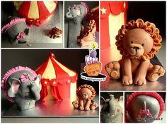 Gâteau Cirque Lion et Éléphant pour enfants Circus cake Lion and elephant for childs