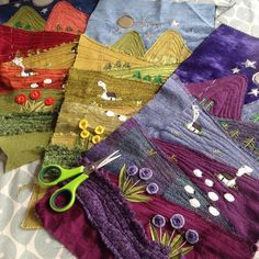 Today's work in progress - I'm in the process of making a series of long unframe. Today's work in progress - I'm in the process of making a series of long unframed canvases - nice and tactile 😊 Fiber Art Quilts, Textile Fiber Art, Textile Artists, Felt Applique, Applique Quilts, Small Quilts, Mini Quilts, Fabric Art, Fabric Crafts