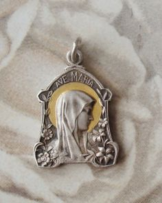 Antique Religious Medal Virgin Mary by religiousmedals on Etsy