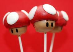 Super Mario Mushroom Cake Pops, the only way i'd eat murshrooms :-)