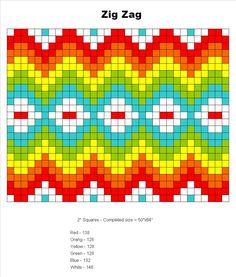 zig-zag granny square layout  #crochet #granny_square #zig_zag