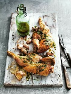 Simple roast chicken with rocket dressing_ Donna Hay