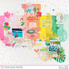 """Today I bring you a cheerful and colorful 12x12"""" scrapbook layout made with Pink Paislee - Confetti Wishes collection.   Pink and Paper Shop"""