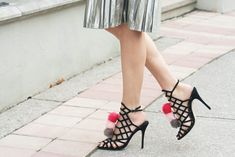 New Year's Eve Outfit with Pom Pom Shoes and Metallic Pleated Skirt How To Wear Heels, How To Make Shoes, Dress And Heels, What To Wear, Dress Shoes, Nye Outfits, New Years Eve Outfits, Steve Madden, Banana Republic