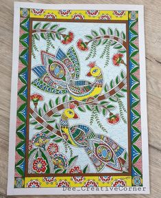 Madhubani Art, Madhubani Painting, Indian Paintings, Folk Art, Bohemian Rug, Canvas Art, Graphics, Ads, Quilts