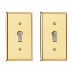 2 Classic Bright Solid Brass Solid Brass Single Toggle or Dimmer switchp