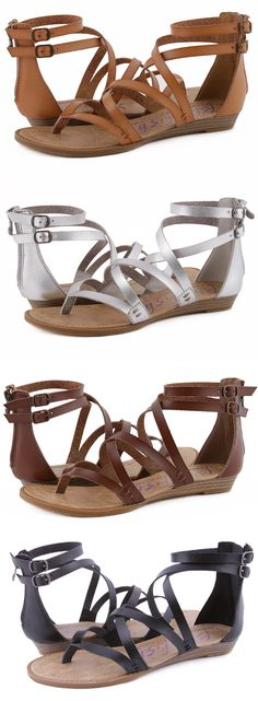 Strut in this ultra strappy sandal! The Blowfish Shoes style Bungalow is the perfect sandal to pair with your favorite festival fashion outfit. You'll also be chic with the double ankle strap accent and comfortable with the slightly cushion footbed that is signature to all of Blowfish's sandals. The heel zipper lets you get in and out of these quick.