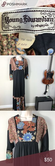 Vintage 70s Young Edwardian black boho dress Vintage 70s Young Edwardian black maxi boho prairie dress with 3/4 bell sleeve sort of shape, patchwork look mixed floral prints at chest and hem, Square neckline and waist tie with zipper up the back. Great vintage condition, no holes tears or stains. Vintage Dresses Maxi