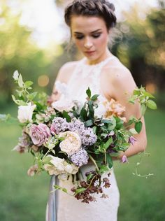 Many brides might know the wedding flower they want in their own bouquet, however are a little mystified about the remainder of the wedding flowers needed to fill out the event and reception. Lilac Wedding, Spring Wedding Flowers, Mod Wedding, Bridal Flowers, Floral Wedding, Wedding Bouquets, Rose Flowers, Garden Rose Bouquet, Lilac Bouquet