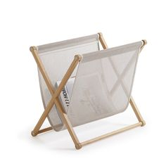 The Woodnotes magazine rack provides a beautiful storage solution for magazines and newspapers. Designed by Ilkka Suppanen and Raffaella Mangiarotti, the magazine rack consists of an oak wood frame and slightly translucent Plain paper yarn fabric.