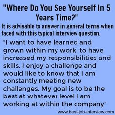 """How to answer """"Where do you see yourself in 5 years time?"""" #interviews #careergoals Accounting Interview Questions, Sample Interview Questions, Interview Preparation, Best Interview Answers, Interview Skills, Job Interview Tips, Cover Letter For Resume, Cover Letters, Career Advice"""